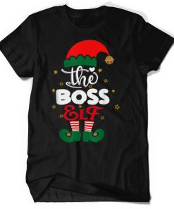 Official BOSS Elf Family Matching Group Christmas Party Pajama T Shirt 1